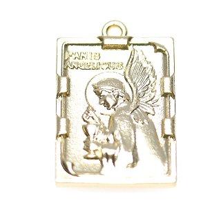 【2個入り】Panis Angelicus 天使の糧 スクエア形マッドゴールドペンダント、チャーム