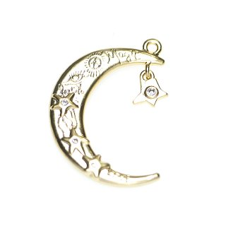 【1個】大ぶり〜Magic Moon&揺れる星に耀く一粒CZマッドゴールドチャーム、ペンダント