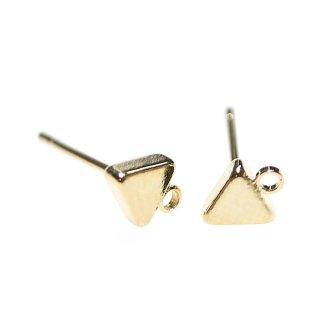 【4個(2ペア)】カン付き!4mmプチトライアングル形(三角形)ゴールドピアス