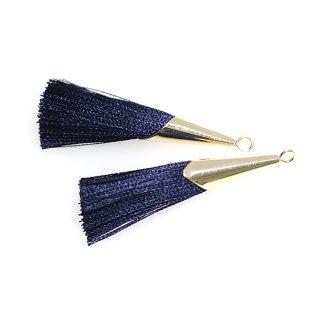【2個入り】ネイビーカラーロング糸タッセル シンプルゴールドキャップ付きチャーム