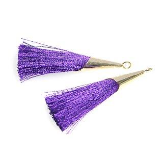 【2個入り】パープルカラーロング糸タッセル シンプルゴールドキャップ付きチャーム