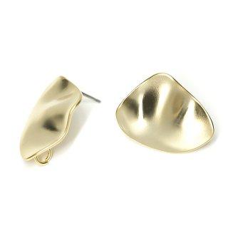 【1ペア】チタン芯!表面曲線の不規則な形!カン付きマッドゴールドカン付きチタン芯ピアス