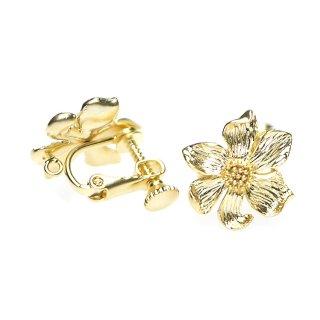 【1ペア】立体感あるSunflowerヒマワリモチーフのネジバネ&カン付きマッドゴールドイヤリングパーツ