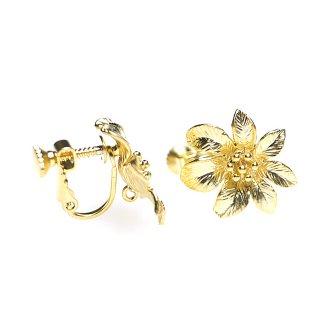 【1ペア】繊細なHawaiian Flowerのネジバネ&カン付きマッドゴールドイヤリングパーツ