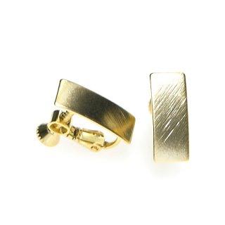 【1ペア】質感ある約7*16mm長方形マッドゴールドネジバネイヤリングパーツ
