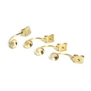 【4個入り】約19mm/約5mmお椀付き真鍮製マットゴールドピアスキャッチ金具、パーツ