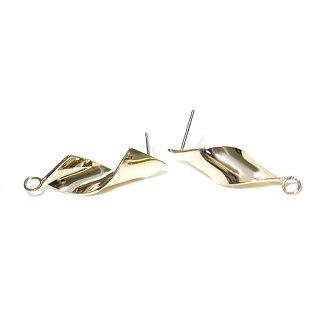 【1ペア】チタン芯!Twist 10mm曲線カン付きゴールドピアス、パーツ