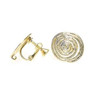 【1ペア】マッドゴールド約16mm 渦巻き楕円形ネジバネ&カン付きイヤリングパーツ