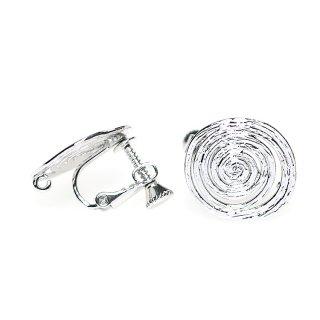 【1ペア】光沢シルバー約16mm 渦巻き楕円形ネジバネ&カン付きイヤリングパーツ