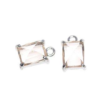 【2個入り】ライトピーチカラープチ長方形Glassシルバーチャーム、ペンダント