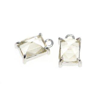 【2個入り】ライトイエローカラープチ長方形Glassシルバーチャーム、ペンダント