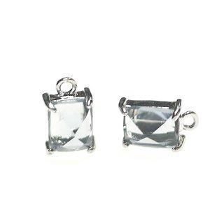 【2個入り】チャコールグレーカラープチ長方形Glassシルバーチャーム、ペンダント