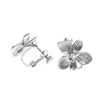 【1ペア】本体カン付き!Hawaiian Flowerマッドシルバーネジバネ付きイヤリング、パーツ