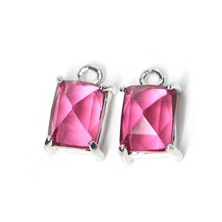 【2個入り】ルビーカラープチ長方形Glassシルバーチャーム、ペンダント
