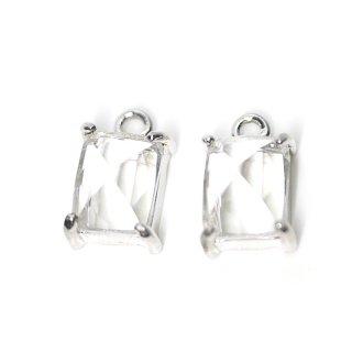 【2個入り】クリスタルカラープチ長方形Glassシルバーチャーム、ペンダント