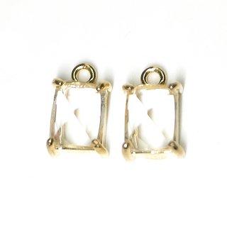 【2個入り】クリスタルカラープチ長方形Glassゴールドチャーム、ペンダント