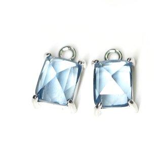 【2個入り】ロイヤルブルーカラープチ長方形Glassシルバーチャーム、ペンダント