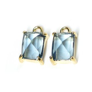 【2個入り】ロイヤルブルーカラープチ長方形Glassゴールドチャーム、ペンダント