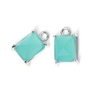 【2個入り】ミントカラープチ長方形Glassシルバーチャーム、ペンダント