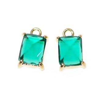 【2個入り】エメラルドカラープチ長方形Glassゴールドチャーム、ペンダント