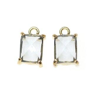 【2個入り】チャコールグレーカラープチ長方形Glassゴールドチャーム、ペンダント