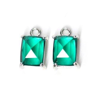 【2個入り】エメラルドカラープチ長方形Glassシルバーチャーム、ペンダント