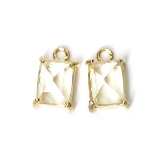 【2個入り】ライトイエローカラープチ長方形Glassゴールドチャーム、ペンダント