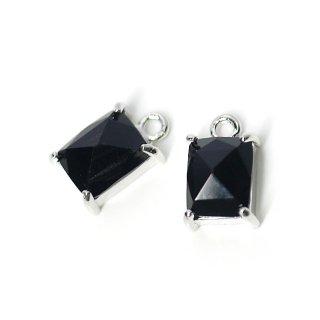 【2個入り】ブラックカラープチ長方形Glassシルバーチャーム、ペンダント