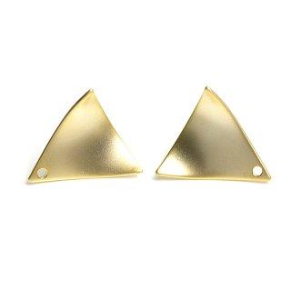 【1ペア】チタン芯!シンプルな約15mmカーブ三角形マッドゴールドピアス、パーツ