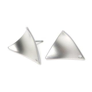 【1ペア】チタン芯!穴あり!カーブ三角形シルバーピアス、パーツ