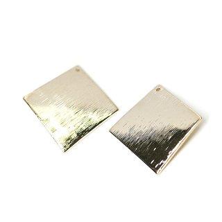 【4個入り】質感あるカーブ正方形 光沢ゴールドチャーム、ペンダント