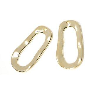 【2個入り】手作り感ある約30mm長方形光沢ゴールドチャーム