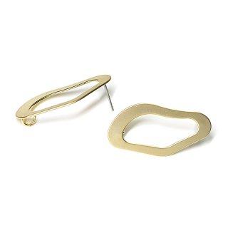 【1ペア】チタン芯!マッドゴールド不規則なウェーブオーバル形カン付きピアス、パーツ