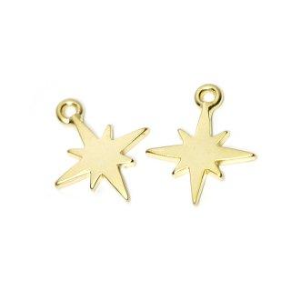 【2個入り】Sparkle Star 星モチーフマッドゴールドチャーム、パーツ
