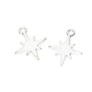 【2個入り】Sparkle Star 星モチーフマッドシルバーチャーム、パーツ