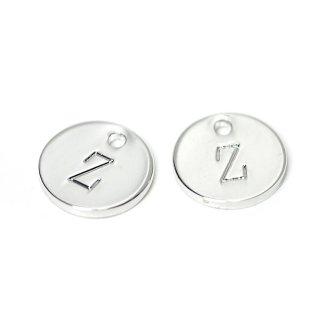 【2個入り】光沢シルバー!大文字 Z イニシャル プチ円形チャーム、パーツ