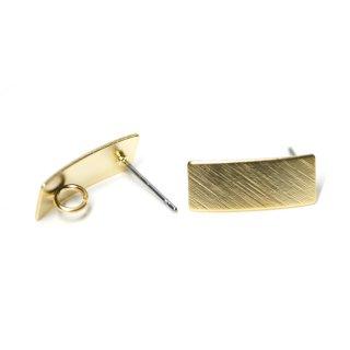 【1ペア】チタン芯!マッドゴールド質感ある約7*16mmスクエア形カン付きチタン芯ピアス