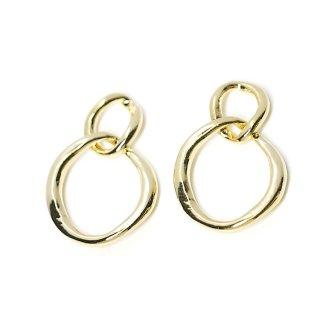 【4個入り】動く不規則で手作り感あるDouble Ring光沢ゴールドチャーム
