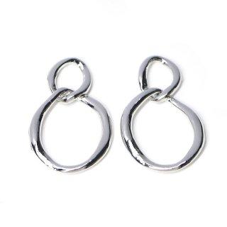 【4個入り】動く不規則で手作り感あるDouble Ring光沢シルバーチャーム