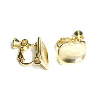 【1ペア】マッドゴールド!指で押されたようなスクエア形カン&ネジバネ付きイヤリング、パーツ