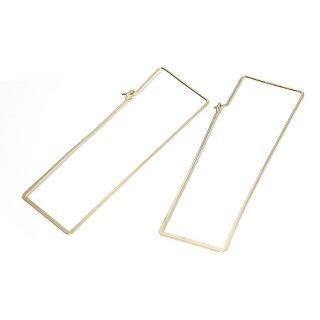 【1ペア】華奢で丈夫な真鍮製!約61mm 長方形ゴールドフックピアス、パーツ