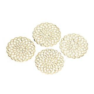 【4個入り】光沢ゴールド!19mm 繊細なWatermark Flowerモチーフチャーム