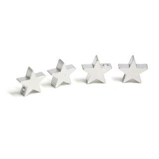 【4個入り】貫通!約8mm STAR星モチーフマットシルバーチャーム、パーツ