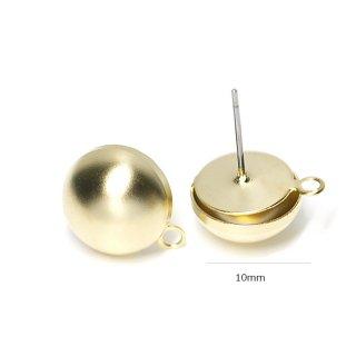 【1ペア】チタン芯!半球10mmマッドゴールドカン付き軽量の真鍮製ピアス