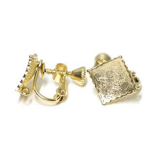 【1ペア】繊細な模様入りChic Squareマッドゴールドネジバネ&カン付きイヤリング、パーツ