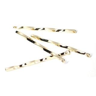 【4個入り】丈夫な43mm Twist Stick光沢ゴールドチャーム,ペンダント