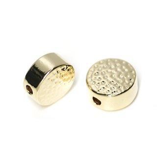 【2個入り】貫通!凹凸ある8mm円形光沢ゴールドチャーム