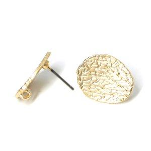 【1ペア】チタン芯!繊細な模様入りの約17mm楕円形マッドゴールドカン付きチタン芯ピアス