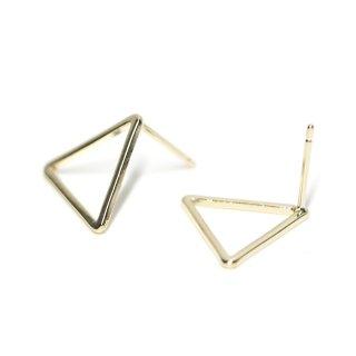 【1ペア】925刻印芯!15*1mm 三角形光沢ゴールドシルバー925芯ピアス、パーツ