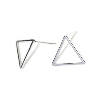 【1ペア】925刻印芯!15*1mm 三角形光沢シルバー、シルバー925芯ピアス、パーツ